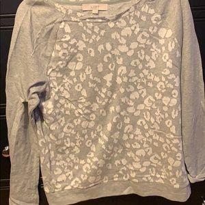 Loft grey animal print sweatshirt